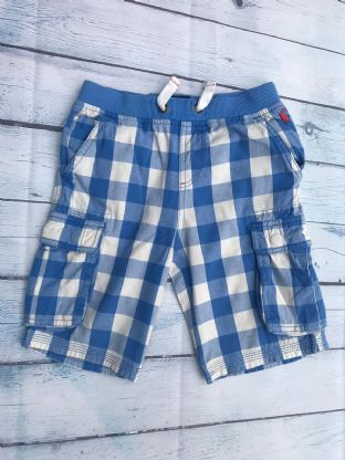 Joules blue and white checked shorts with pockets age 8 (fits age 7-8)